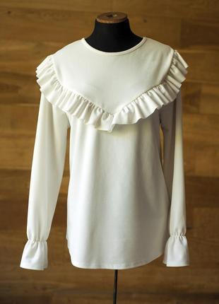Стильная белая блуза с воланом v by very, размер l