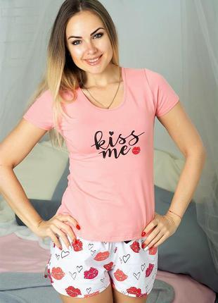 Женская хлопковая пижама (комплект для дома и сна) в подарочно...