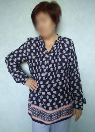 Тёмно-синяя свободная блуза george с регулируемыми рукавами/ви...