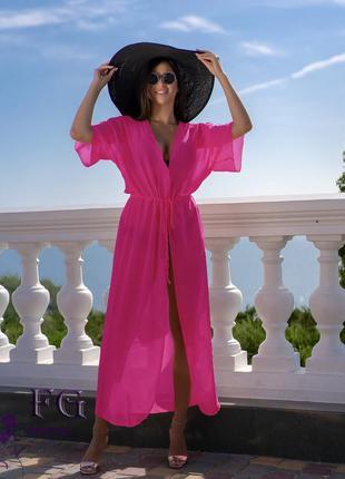 Женская пляжная длинная туника в пол накидка парео 42 44