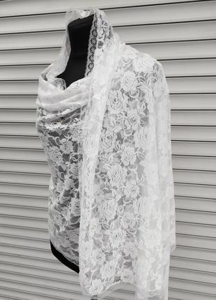 Ажурный праздничный нарядный белый шарф