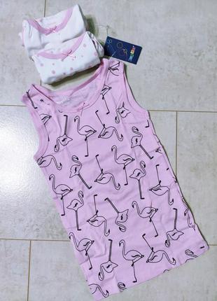Набор хлопковых маек на девочку, принт фламинго,3шт/упаковка