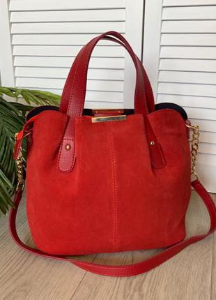 Женская красная сумка,замшевая