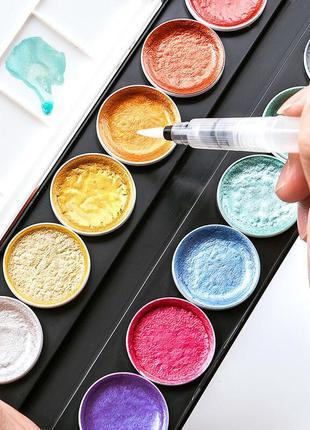 Краски акварельные с перламутром (металлик) 12 цветов Белые ночи