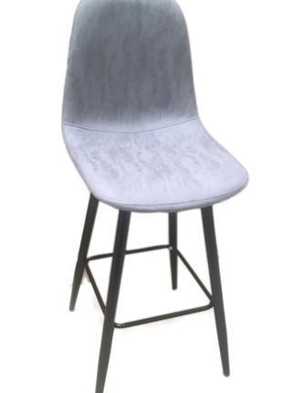 Барный стул мягкий НУБУК Н, серый, коричневый