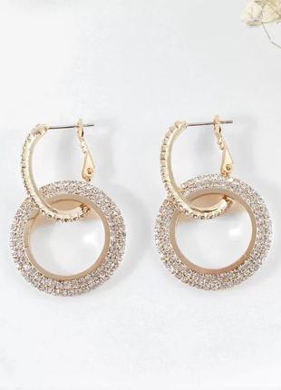 Изумительные серьги с кристаллами, с камнями под золото