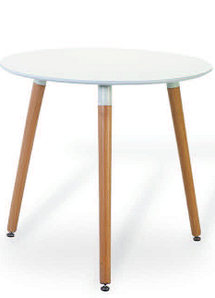 Обеденный стол НОЛАС, круглый, белый