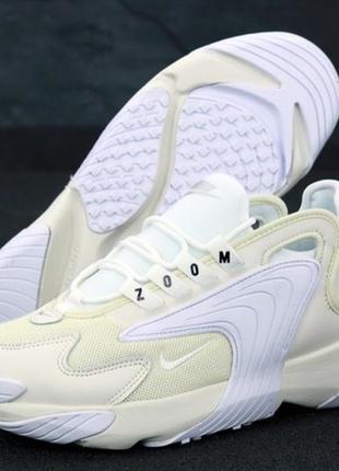 Шикарные стильные белые мужские кроссовки найк nike zoom 2k wh...