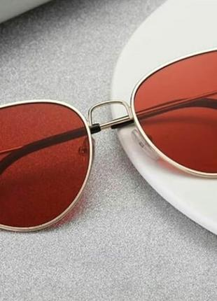 Солнцезащитные очки кошачий глаз Ретро стиль красное стекло!!