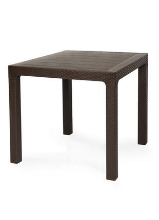 Стол для улицы ЛАГУНА, коричневый, под ротанг, 80*80 см