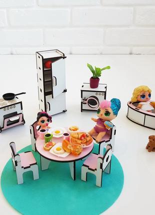 Кухня + Ванная.  Кукольная мебель. Мебель в кукольный домик.