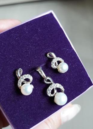 Набор серьги и подвеска серебро и жемчуг 925