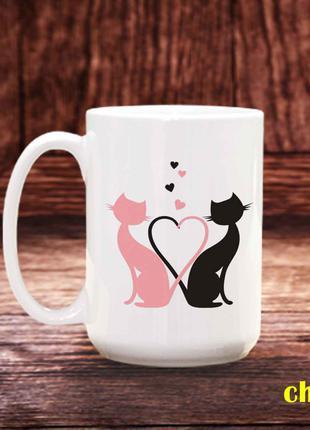 Чашка с принтом котики
