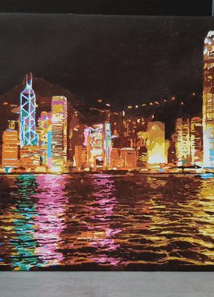 """Картина """"Ночной Гонконг"""""""