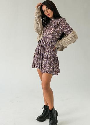 Коротке стильне плаття,  сукня з рюшами в квітковий принт турция