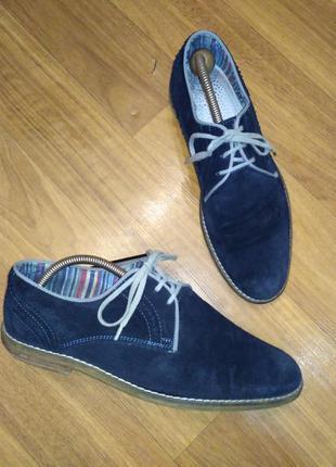 Мужские синие замшевые туфли