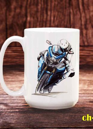 Чашка с принтом мотоциклист
