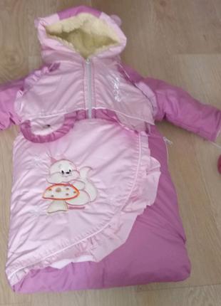 Зимний костюм в конверте на девочку (6мес)