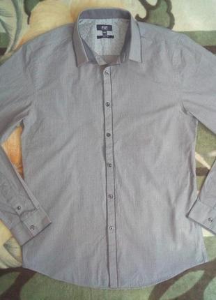Серая мужская рубашка длинный рукав Slim Fit