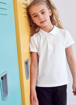 Детская белая футболка блузка поло в школу для девочки next