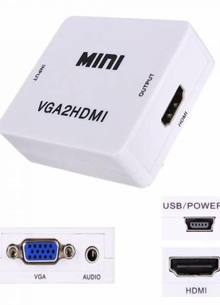 Конвертер VGA to HDMI переходник, адаптер, 1080p с питанием