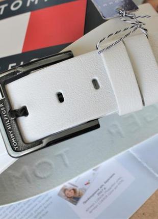 Кожаный ремень с тиснением tommy hilfiger белый