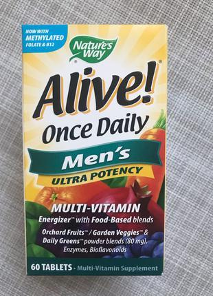 Alive , Раз в день , мультивитамины для мужчин , 60 шт