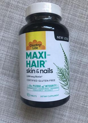 Country Life , Maxi-Hair , Витамины волосы, кожа , ногти , 90 шт