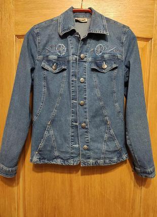 Ascari стрейчевая джинсовая куртка, пиджак, джинсовка с вышивк...