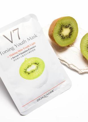 Тканевая витаминная маска для лица bioaqua v7 toning youth mask