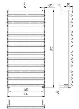 Водяной полотенцесушитель Премиум Турин 900x430/400