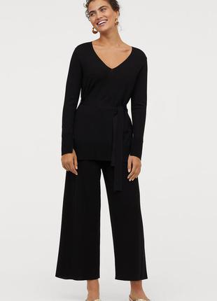 Черные кюлоты/широкие брюки/штаны