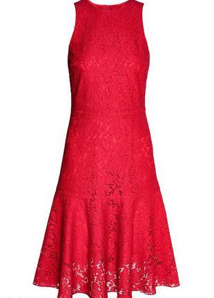 Шикарное вечернее кружевное платье миди h&m