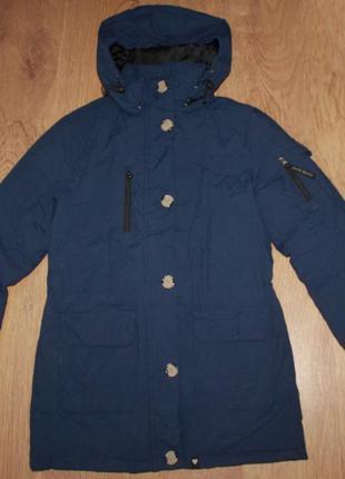 Теплая куртка парка синяя зимняя jeane blush 36-38р.