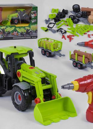 Трактор конструктор 661-427, звук, свет,шуруповерт на батарейках