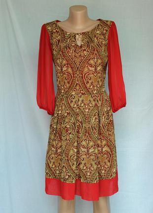 Платье миди женственное красное с золотым узором и металлическ...