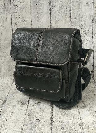 Аккуратная мужская сумка через плечо, натуральная кожа