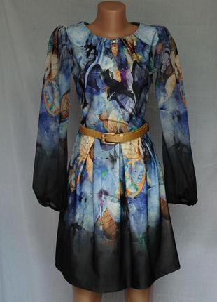 Платье миди женственное синее с золотым узором, металлической ...
