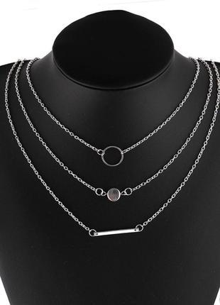 Ожерелье колье чокер многослойная цепочка серебристая