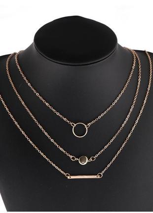 Ожерелье колье чокер многослойная цепочка золотистая