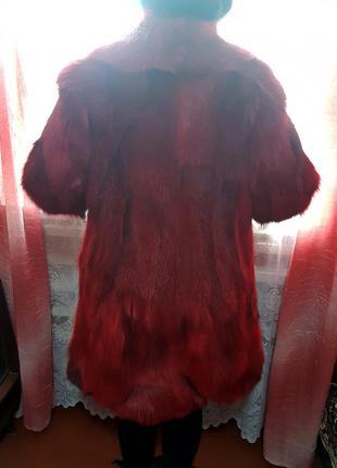 Шуба натуральный мех песец красный