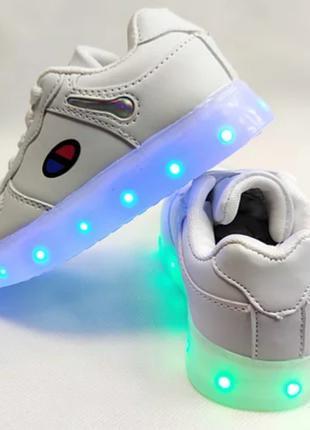 Детские светящиеся кроссовки  с led подсветкой подошвы