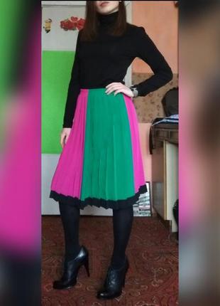 Спідниця пліссе у стилі колорблокінг, юбка плиссированная юбка...
