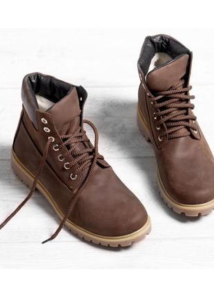Коричневые зимние ботинки на шнурке