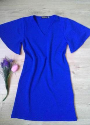 Сапфировое платье трапеция до колен с рукавами колокол/s/сукня...