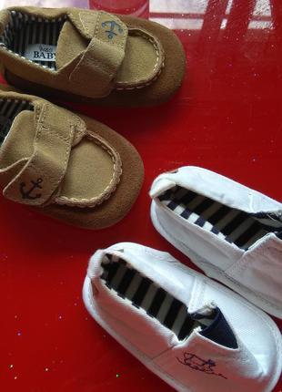 M&S   пинетки топики первая обувь малыша 3-6-9 м морячок новые