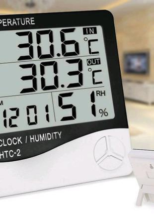 Цифровой Термометр Гигрометр Часы HTC 2 + Выносной Датчик Темпера