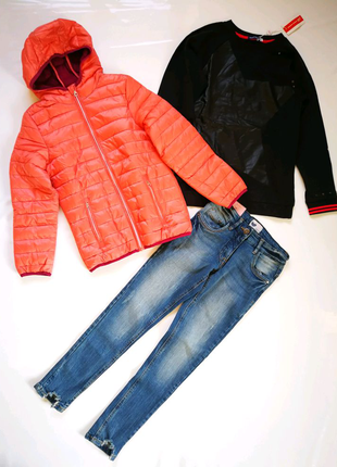 Куртка курточка 134 - 140 демисезонная джинсы толстовка комплект