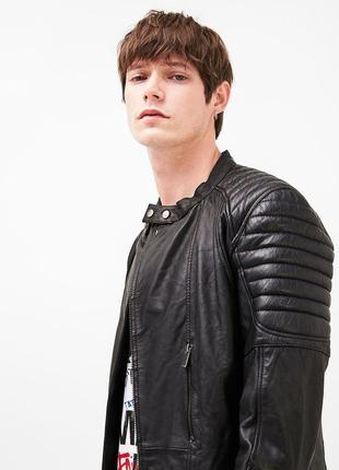 Куртка последняя коллекция bershka  ® real leather biker jacket