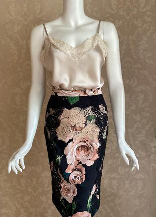 Dolce and gabbana оригинал италия черная юбка карандаш розы кр...